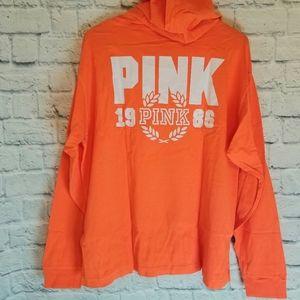 Hoodie Tee PINK Victoria's Secret Orange Shirt XL